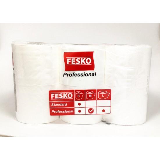 Папір туал. на гільзі целюлозний 2шар білий FESKO 6рул/уп (7уп/ящ)