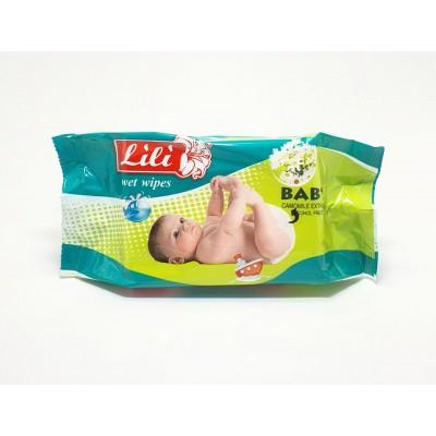 Серветки вологі Lily для дітей (60 шт.) з екстрактом ромашки